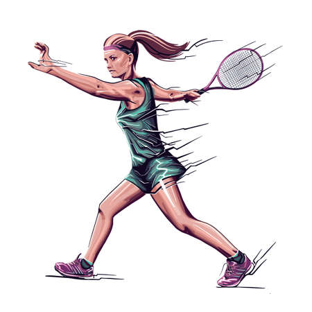 Young beautiful girl - tennis player with a racket in her hand.