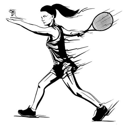 tennis player with a racket in her hand. Silhouette black shadow