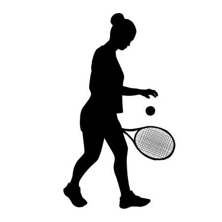 Young beautiful girl tennis player with racket in hand. Silhouette black shadow. Vector vector illustration on white background. Sports concept. freehand drawing of modern design