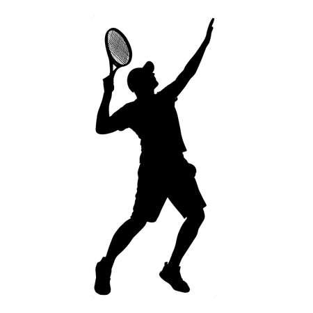 Man tennis player vector silhouette isolated on white background. Illusztráció