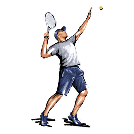 Tennis player, abstract geometric vector illustration, sport tennis man with a racket in a jump, hand-drawn brush strokes