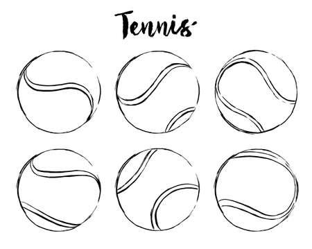 set of tennis ball hand drawn brush strokes