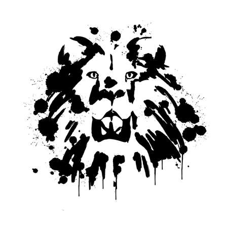 lions face, Savannah animals, brush strokes paints, spray, lion mane Illusztráció