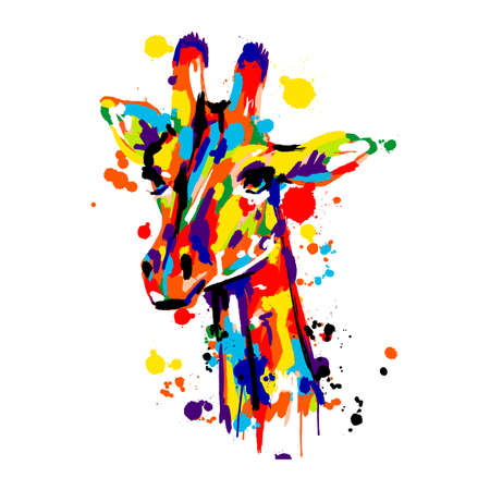giraffe colored brush stroke, African animals pop art, vector illustration