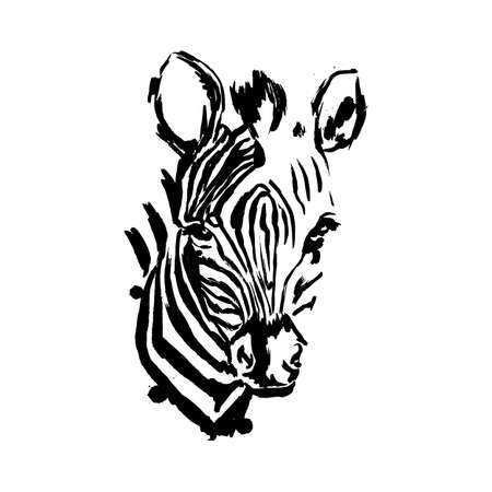 Zebra face black brushstroke, African animals, vector Zebra head,