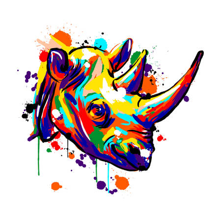Nashorngesicht, Savannentiere, Nashorn farbig, Vektorillustration Vektorgrafik