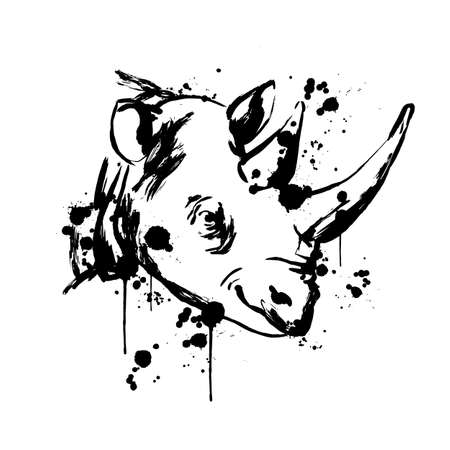 Rhino face, Savannah animal, brush strokes paint, black spray,