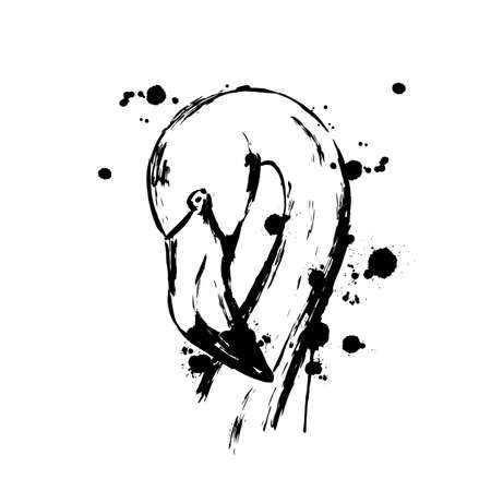 Flamingo black smears and splashes of different paint, Flamingo face head