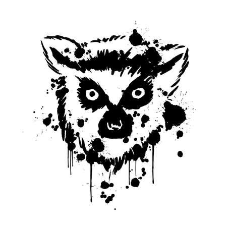 lemur black, brush strokes spray paint, lemur head face, African animals Illusztráció