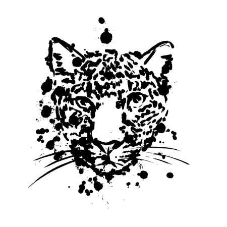 leopard black, brush strokes spray paints, leopard head face, African animal Illusztráció