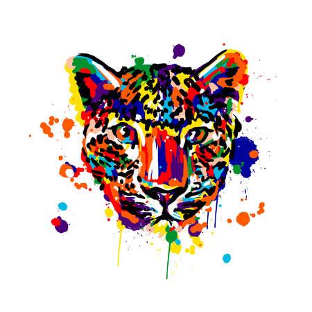 leopard color, brush strokes spray paint, leopard head face, African animals Illusztráció