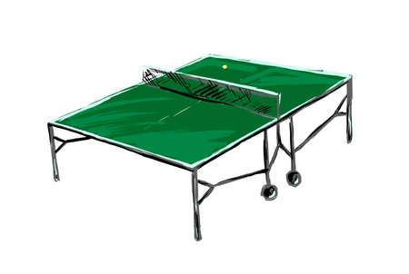 tennis table isolated on white background, painted with brush strokes by hand  イラスト・ベクター素材