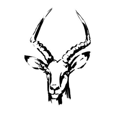 antelope, black and white paint spray brushstrokes, antelope head face