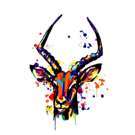 antelope, different color paint spray brushstrokes, antelope head face Banque d'images - 131732506