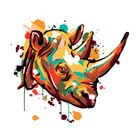 rhinoceros face, Savannah animals, rhinoceros colored, vector illustration