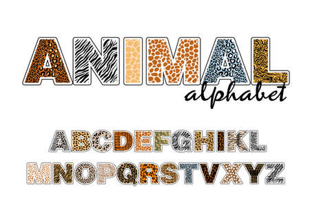 The alphabet with wild animals, the texture of the skins on the letters Illusztráció