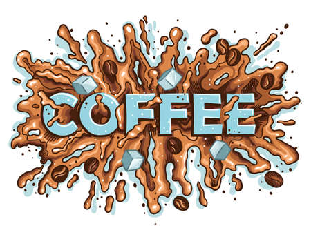 Coffee, spilled blot, coffee spray. Coffee color lettering.