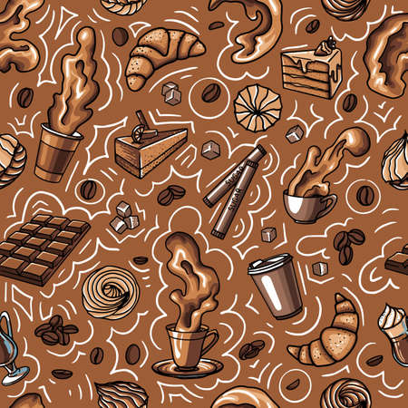 coffee chocolate texture seamless with drink and sweets, cake,