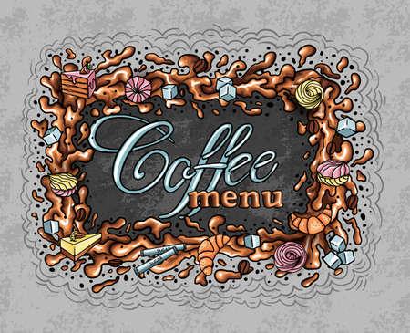 coffee frame, coffee splashes and sweets, cake croissants, menu 矢量图像