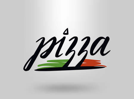 Pizza with cap chef. Design template.