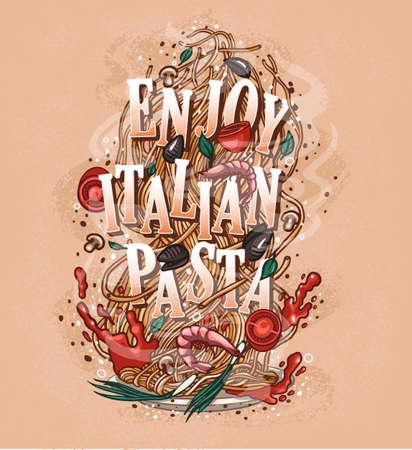 inscription to enjoy Italian cuisine pasta, ready-made design