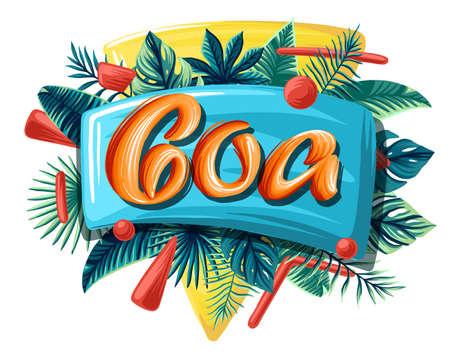 Goa tropical leaves bright banner orange letters