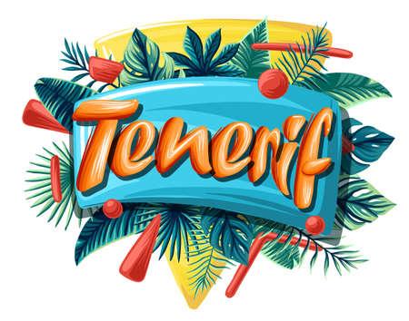 Tenerif tropical leaves bright banner orange letters 矢量图像