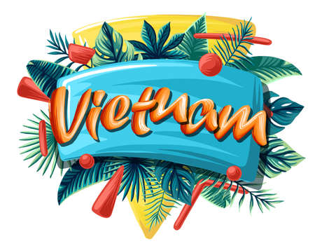 Vietnam Advertising emblem with type design and tropical flowers and plants tropical leaves bright banner orange letters