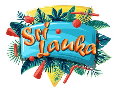 Sri Lanka Advertising emblem with type design and tropical flowers and plants 矢量图像