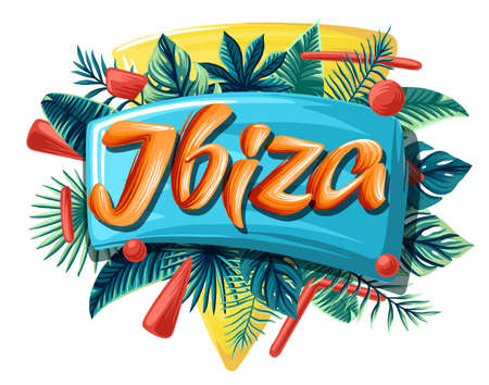 Ibiza tropical leaves bright banner orange letters