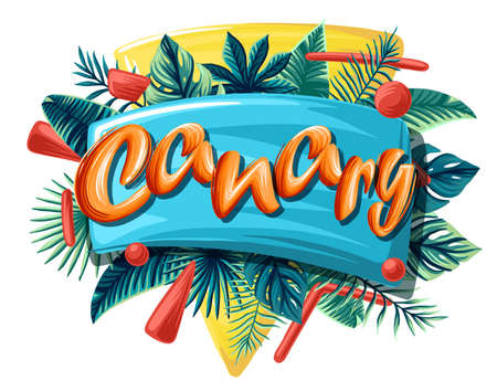 Canary tropical leaves bright banner orange letters 免版税图像 - 142566170