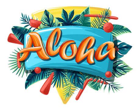Aloha Hawaii tropical leaves bright banner orange letters 矢量图像