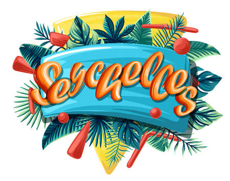Seychelles tropical leaves bright banner orange letters