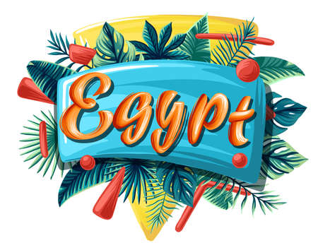 Egypt tropical leaves bright banner orange letters 向量圖像