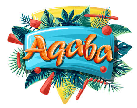 Aqaba tropical leaves bright banner orange letters
