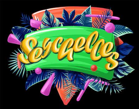 Seychelles tropical leaves bright banner orange letters