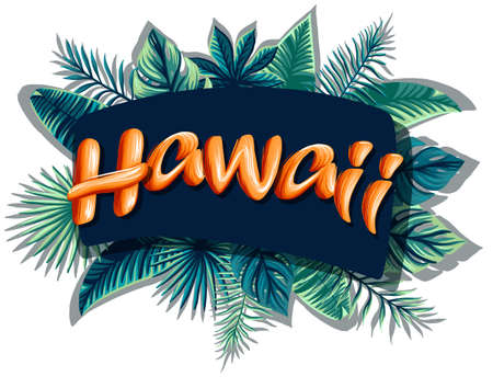 Hawaii tropical leaves bright banner orange letters 免版税图像 - 143386597