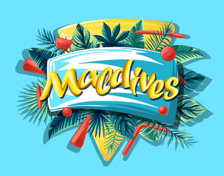 Maldives tropical leaves bright banner orange letters 免版税图像 - 143386696