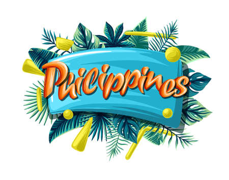 Philippines tropical leaves bright banner orange letters
