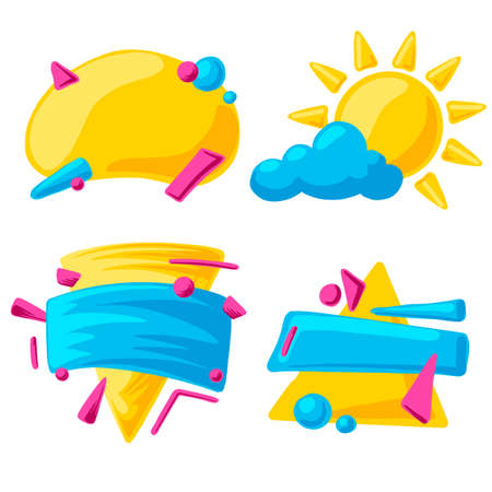 Set of bright colorful vector background, for children or bright Sunny and summer 矢量图像