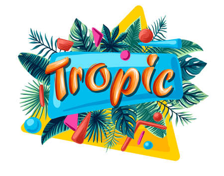 Green summer tropical background with exotic palm leaves and plants. Vector floral background. Tropical islands