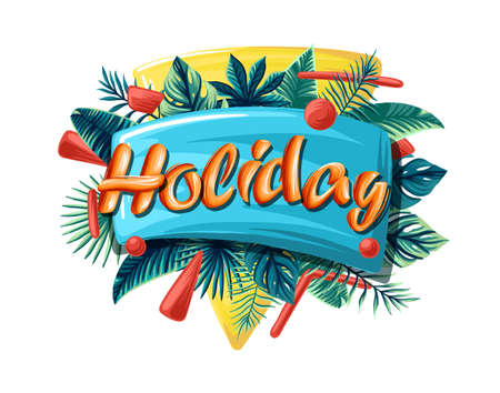 Summer background with holiday text design and palm trees . Creative template for holiday greetings. Vector illustration. 矢量图像