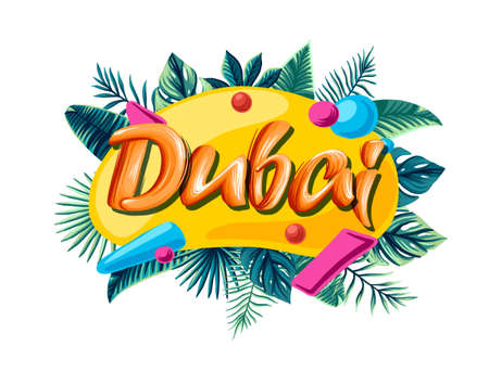 Dubai Advertising emblem with type design and tropical flowers and plants