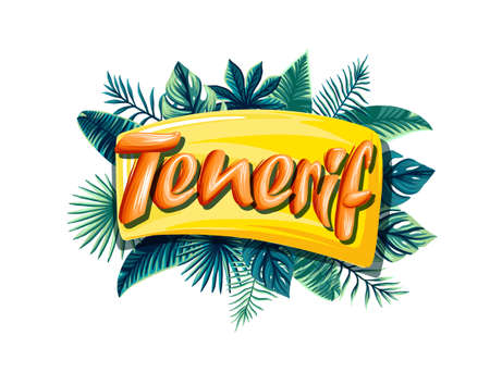Tenerif Advertising emblem with type design and tropical flowers and plants 矢量图像