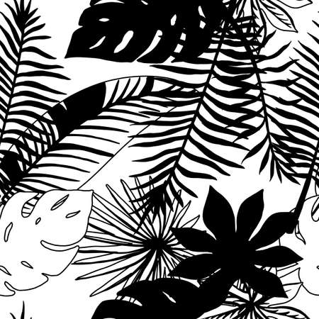 Print summer exotic jungle plant tropical palm leaves. Pattern, seamless floral vector Nature wallpaper.