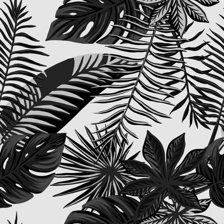Print summer exotic jungle plant tropical palm leaves. Pattern, seamless floral vector Nature wallpaper. 免版税图像 - 143386609
