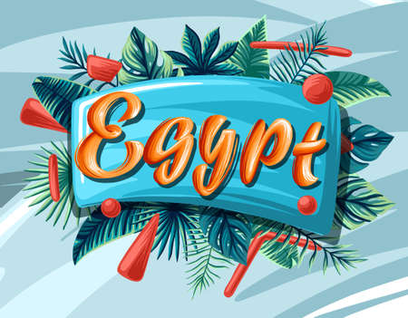 Egypt Advertising emblem with type design and tropical flowers and plants 免版税图像 - 143386695
