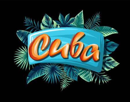 Cuba Advertising emblem with type design and tropical flowers and plants 矢量图像