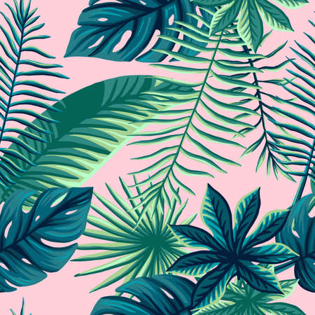 Print summer exotic jungle plant tropical palm leaves. Pattern, seamless floral vector Nature wallpaper. 免版税图像 - 143386698