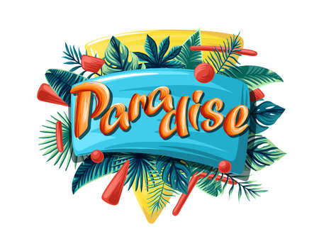 Paradise Summer tropical vector design for banner or flyer with dark green palm leaves and lettering.